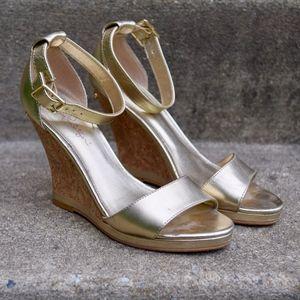 Lilly Pulitzer Karen Gold Ankle Strap Wedge Sandal